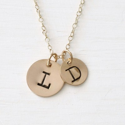 Mother Child Necklace / Mother Child Initial Necklace / Gold Mothers Initial Necklace / Push Present New Mom / Stamped Initial Necklace