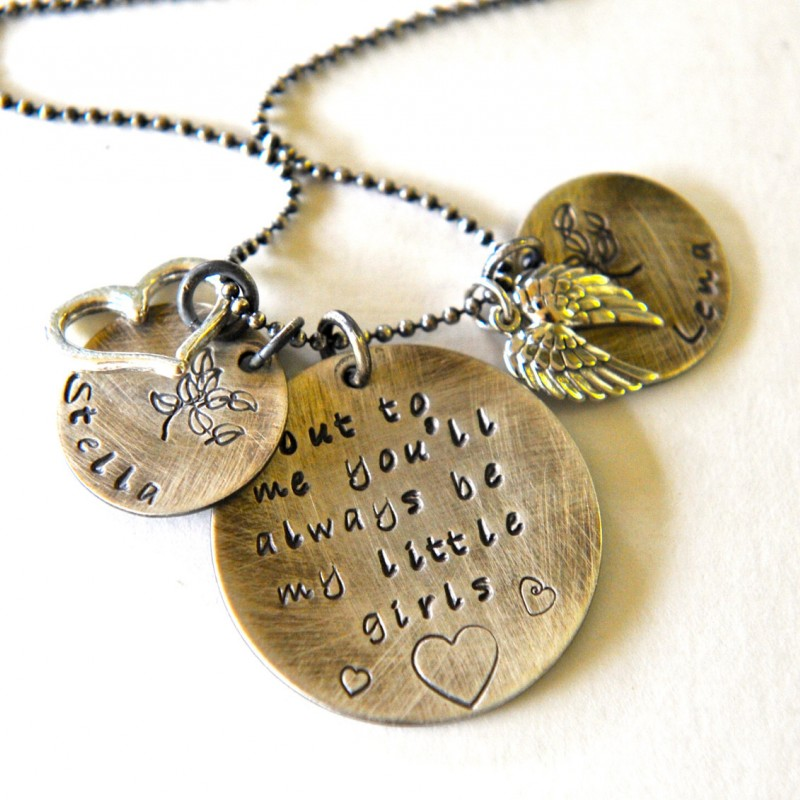 Mother Daughter Necklace Hand Stamped