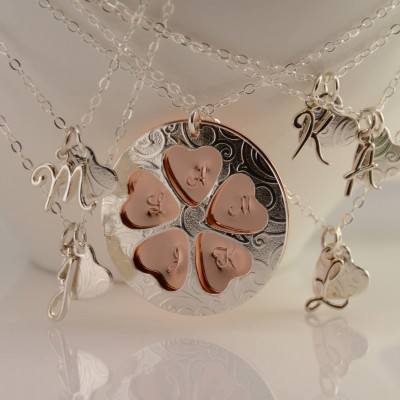 Mother daughters necklace. Mother and 5 daughters necklace set. Gift for mother and 5 daughters
