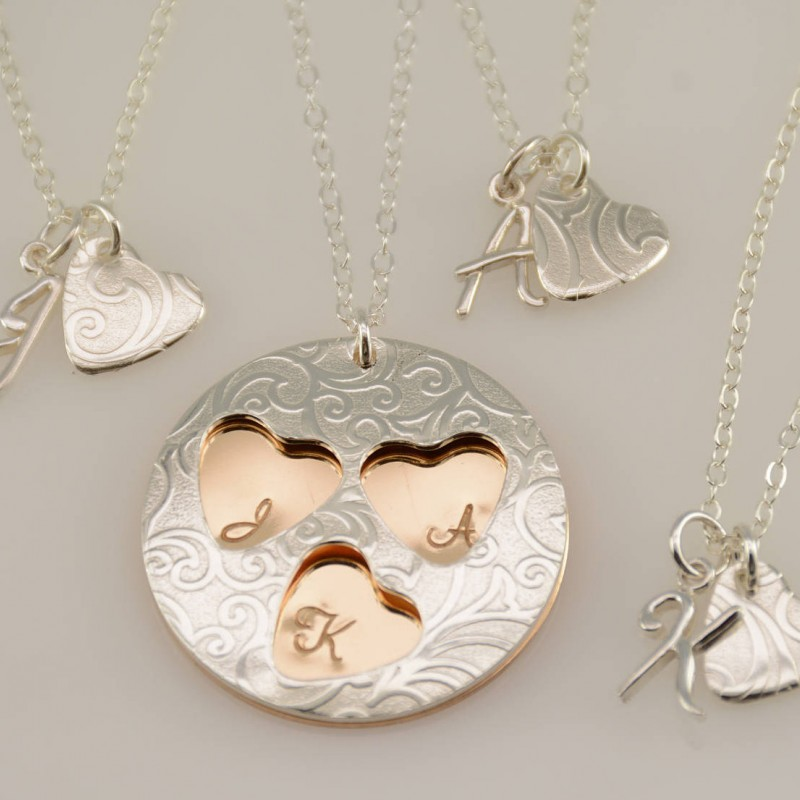 fdb011f6b309c Mother daughters necklace set. Mother and 4 daughters, Mother and 3 ...