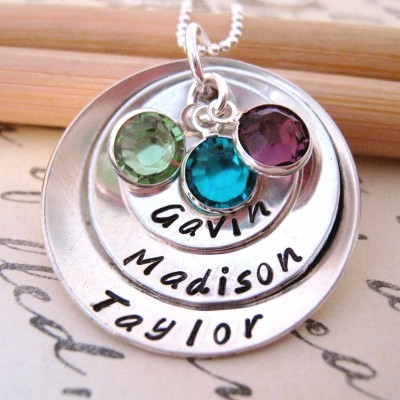 Mothers Birthstone Necklace - Extra Large - Family hand stamped mothers necklace