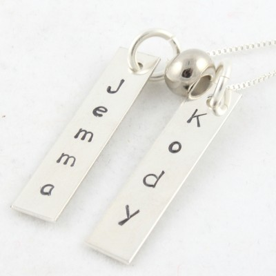 Mother's Day Gift - Two Personalized Sterling Silver Rectangles Necklace - Hand Stamped Gift for Mom