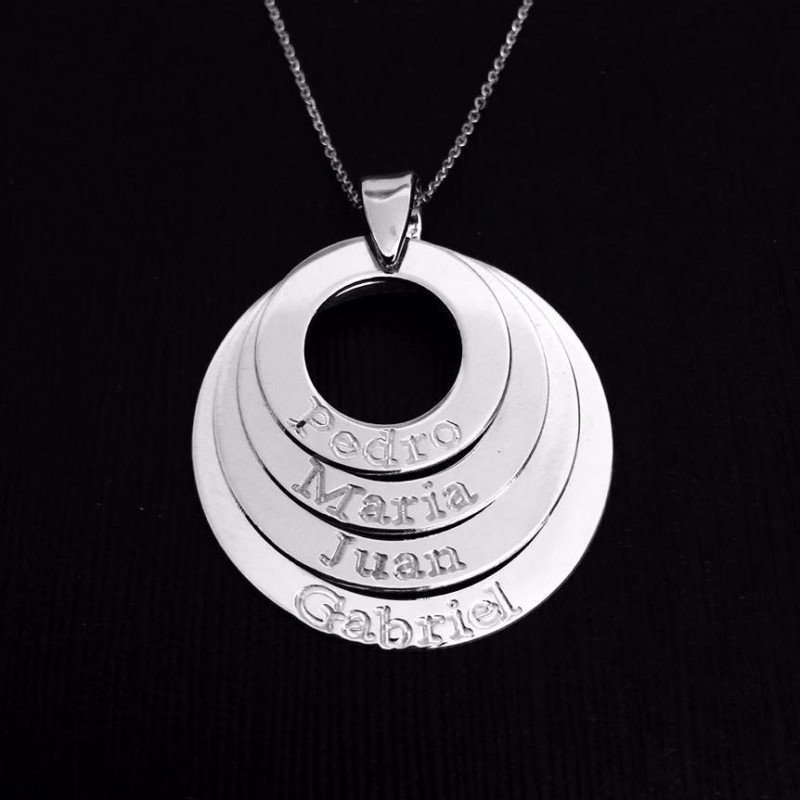 Mothers Necklace Layered Love Mom Birthday Gift Personalized Mommy Jewelry For Mother Kids Name Circle