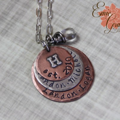 Mother's Necklace, Names Necklace, Family Personalized Jewelry, Sterling Silver, Copper & Clear Quartz, Rustic Mixed Metals