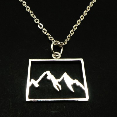 Mountain Range Colorado Necklace - State Shaped Necklaces - Mountains in Colorado Necklace - State Necklaces