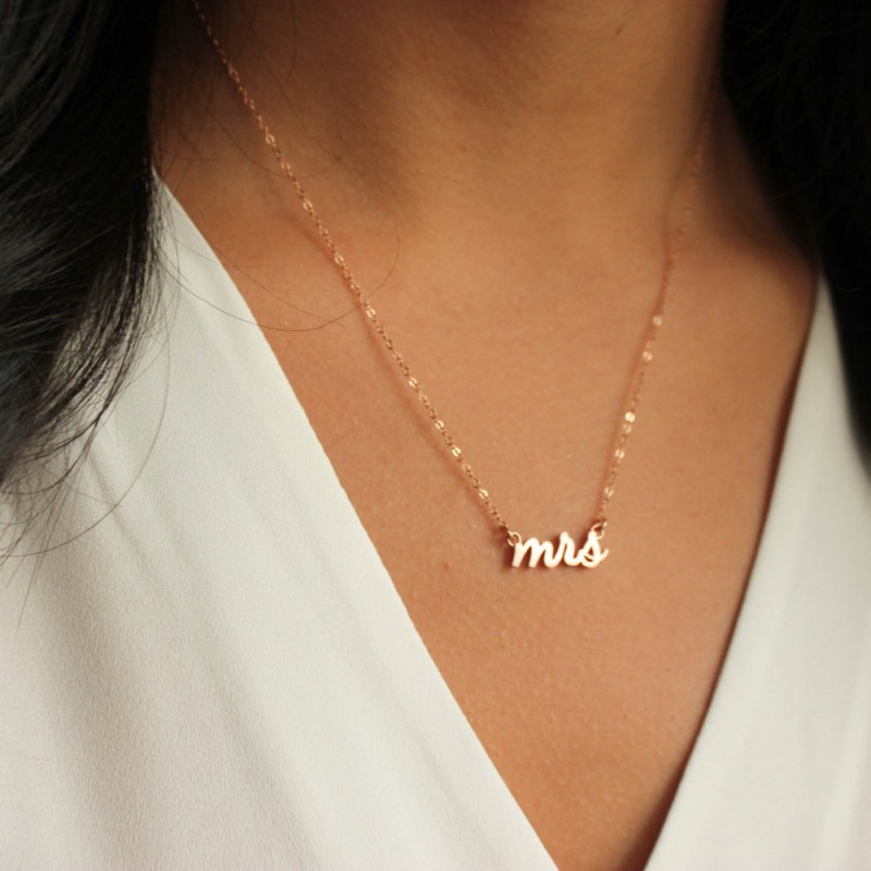 23e7ed43d0ebaa Mrs Necklace, Rose Gold Mrs Necklace, Bridal Shower Gift, Bridal Jewelry,  Wedding Jewelry