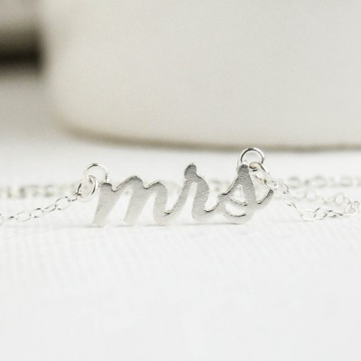 Mrs Necklace, Silver Mrs Necklace, Soon to be Mrs, Future Mrs, Mrs, Gift for Mrs, Bridal Shower Gift, Bridal Jewelry, Wedding Jewelry