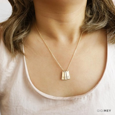 Multi tag necklace Sterling Silver, Gold Plated, Rose Gold • NBV16x6M