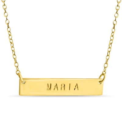 Name Bar Maria Charm Pendant Jump Ring Necklace #18k Gold Plated over 925 Sterling Silver #Azaggi N0779G_Maria