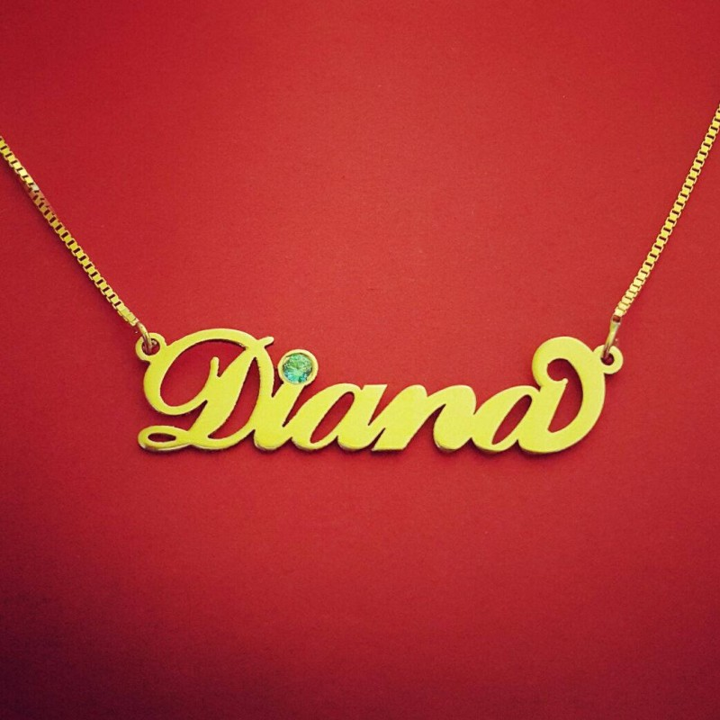 Name Necklace 14k Yellow Gold Chain Hebrew Style Drums Personalized Gift Jewelry