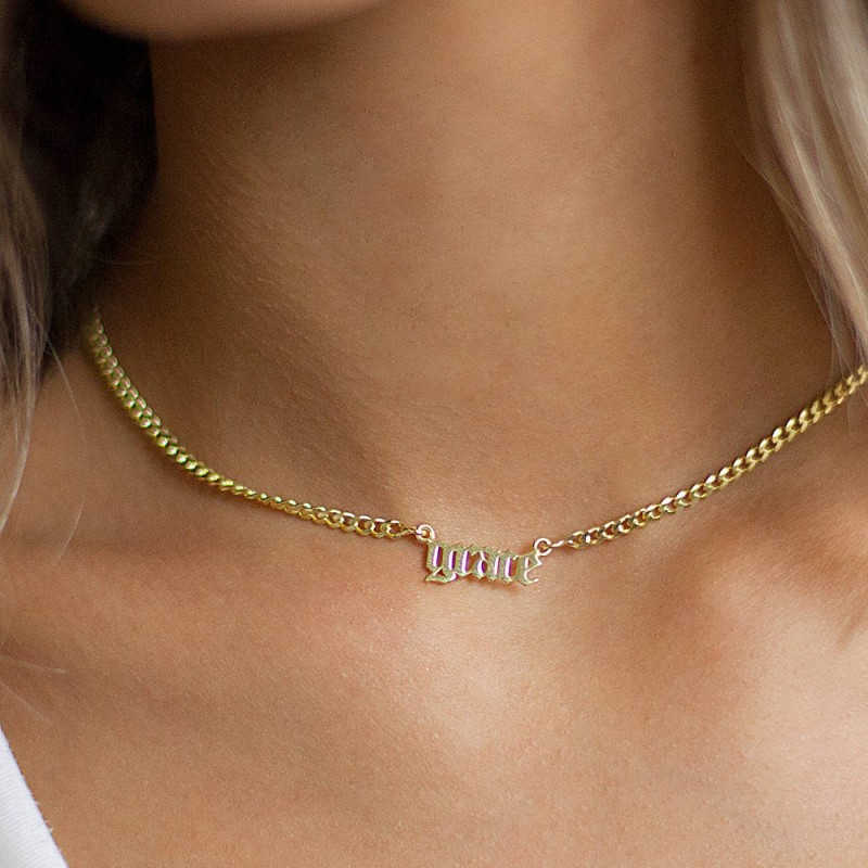 6876eb87a6a5b Name Necklace - Silver Name Necklace - Name choker necklace - Gothic ...