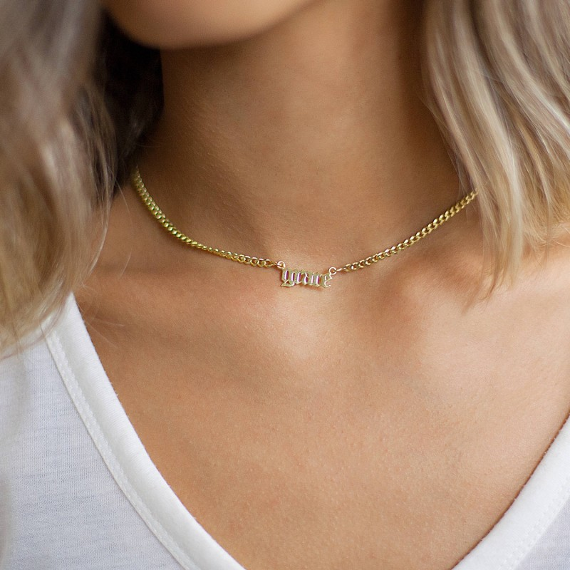 e381c146f3a1f Name Necklace - Silver Name Necklace - Name choker necklace - Gothic ...