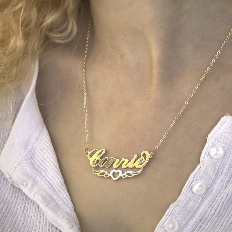 Custom Necklace Initial Necklace Birthday Gift Handmade Necklace Christmas Gift Wings Charm Necklace Present Personalized Name Necklace