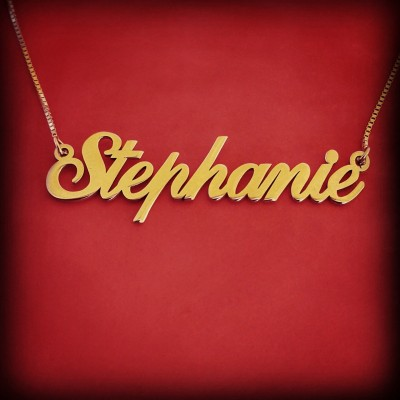 Name Necklace Gold name Chain Name Gold Nameplate Necklace Name Pendant Gold Nameplate Christmas Gift Stephanie Name Necklace Gold Necklace