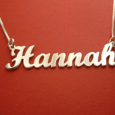 Name Necklace Hannah Name Chain Birthday Gift Name Necklace Silver Name Disc Necklace Nameplate Necklace Sterling Silver