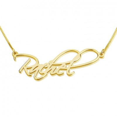 Name Necklace Jewelry 18k Gold Plated Personalized Customized Script Nameplate