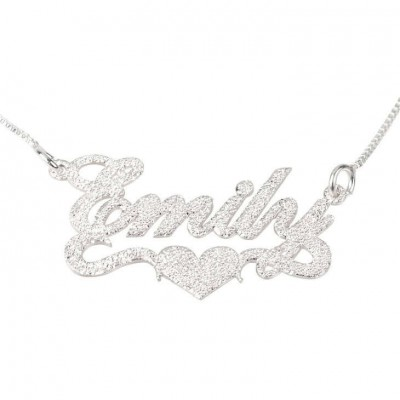 Name Necklace Jewelry Sterling Silver 925 Personalized Customized Sparkling Nameplate