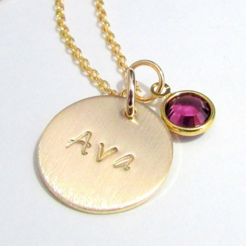 Birthstone And Name Necklace Gold