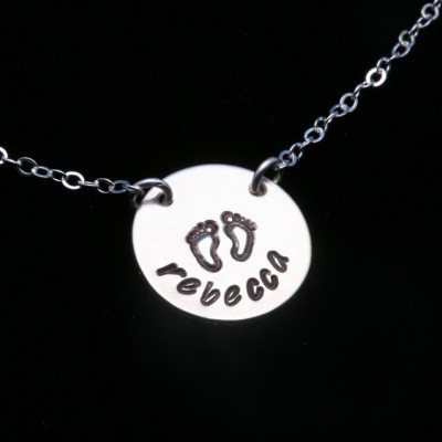 Name necklace,Baby feet necklace,hand stamped name,Mother Jewelry,Push gift,baby shower gift,Personalized,Mom and baby,gift for mom