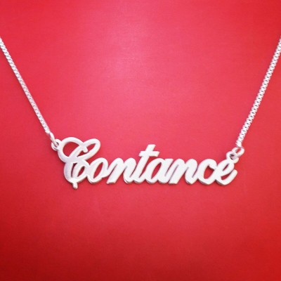 Named Necklace Customized White Gold Name Necklace Carrie Necklace White Gold Choker With Name Named Chain My Name On Necklace