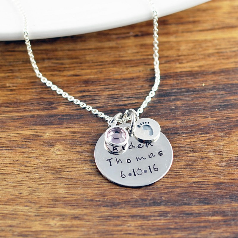 18a6012a24884 New Mom Jewelry, Baby Name Necklace, Mommy Necklace, Child Name ...