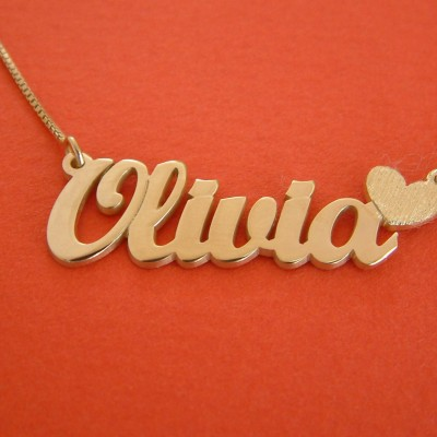 Olivia Name Necklace Gold Nameplate Necklace Heart Charm Necklace 18k Gold Name Necklace Olivia Necklace With Name Locket Necklace