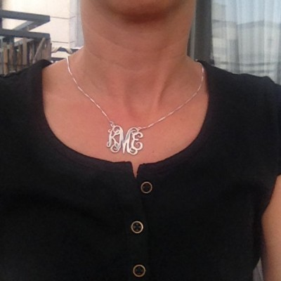 On Sale 40% - Large Monogram necklace, Solid Silver Sterling 925 Personalized Gift, Monogram necklace, Monogrammed Initial, Initial Necklace