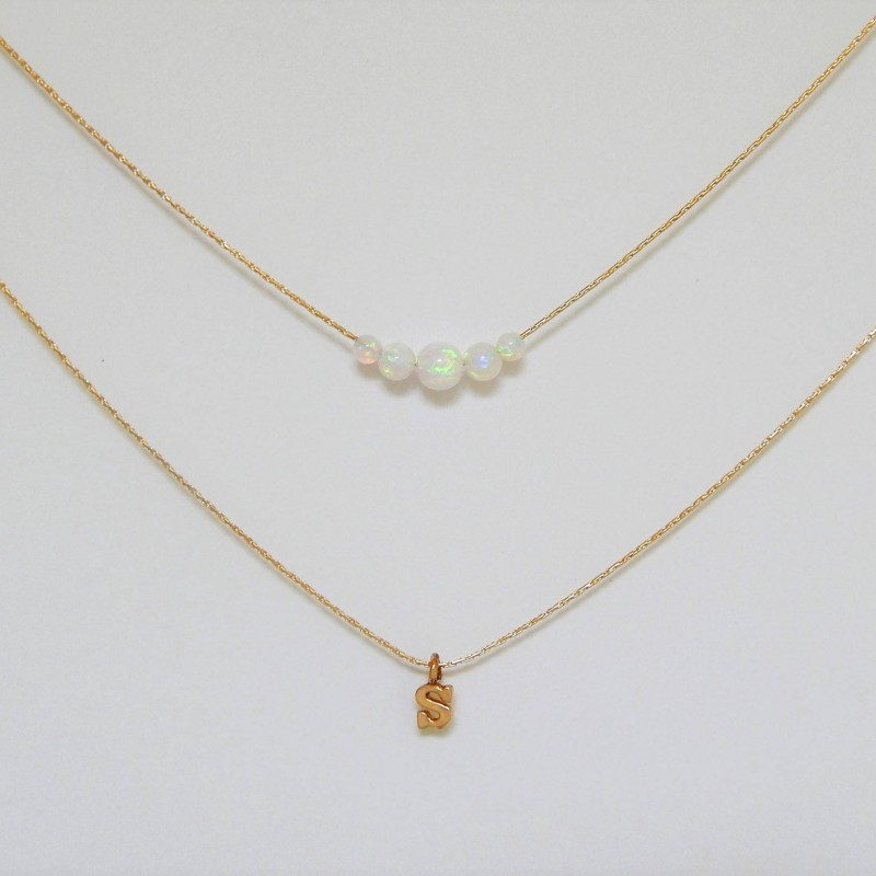 white opal necklace white opal Personalized pendant round opal necklace Monogram Gold Necklace Gold Letter Necklace opal gold necklace