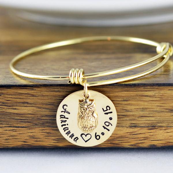 Owl Bracelet - Owl Jewelry - New Mom Gift - Owl Lover Gift - Date Bracelet - Hand Stamped Jewelry - Gold Owl Bracelet - Mothers Day Gift