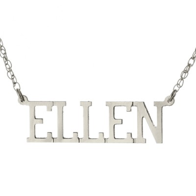 Oxidized 925 Sterling Silver Personalized Custom Made Any Nameplate Pendant Necklace - Ellen Style