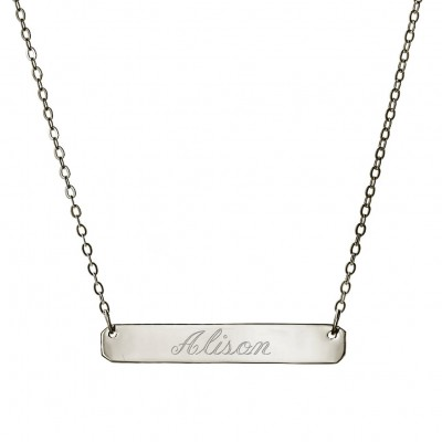Oxidized 925 Sterling Silver Personalized Engraved Any Name NameBar Pendant - Nameplate Necklace - Engraved Necklace