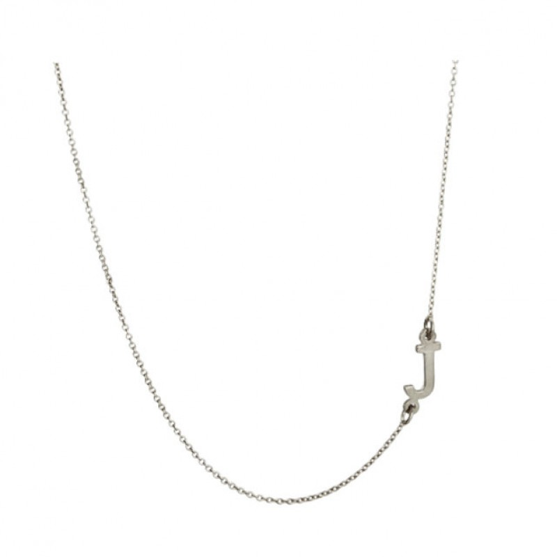 e377076a3 Oxidized 925 Sterling Silver Personalized Sideways Initial Necklace A to Z  - Nameplate Necklace - Initials Necklace