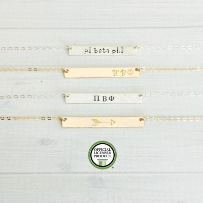 PI BETA PHI Necklace - Pi Beta Phi Jewelry - Sorority Bar Necklace - Sorority Jewelry - Sorority Necklace - Pi Phi Jewelry - Big Little Gift
