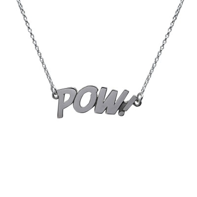 POW! Letters Necklace Large in solid sterling silver. The Pop Art Collection. Designer comic jewelry hallmarked in Dublin Castle, Ireland.