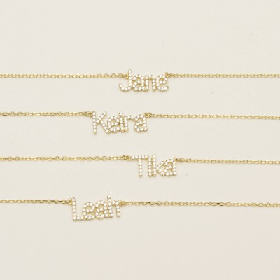 Pave Stone Name Necklace - Custom Name Necklace - Personalized Pave Stone Word Necklace - Minimal Custom Word Necklace #PN02D03