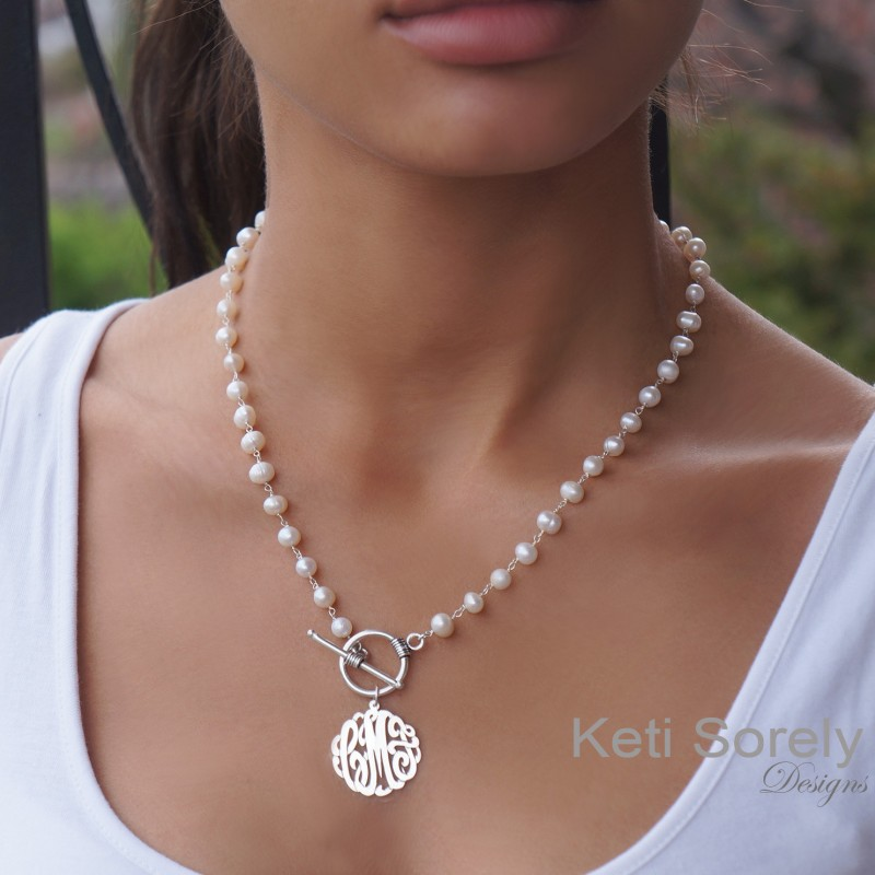 48af5d665562e Pearl Necklace with Monogrammed Initials & Toggle Clasp - Personalized  Pearl Necklace, Toggle Neckalce, Sterling Silver, Yellow or Rose Gold