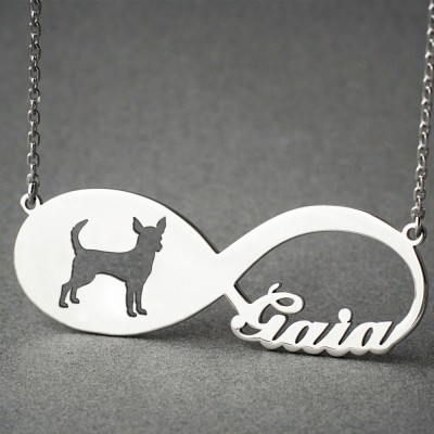 Personalised INFINITY CHIHUAHUA Necklace - Chihuahua necklace - Name Necklace - Memorial Necklace - Puppy - Dog Necklaces