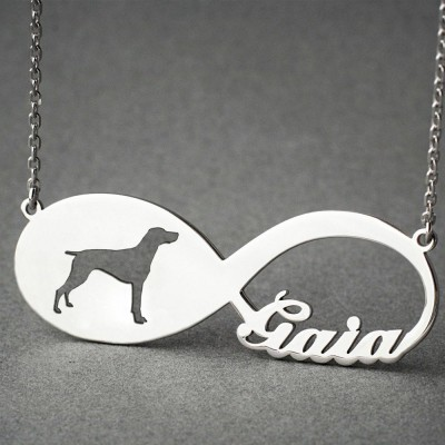 Personalised INFINITY GERMAN Shorthair POINTER Necklace - German Pointer necklace - Name Necklace - Memorial Necklace - Dog Necklaces