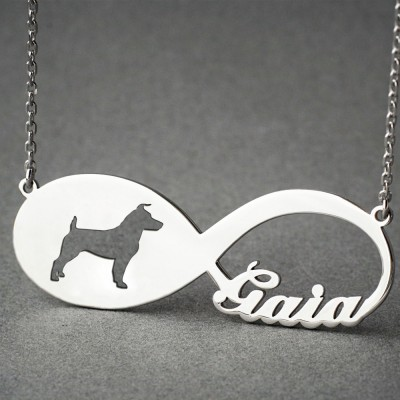 Personalised INFINITY JACK RUSSELL Necklace - Jack Russell necklace - Name Necklace - Memorial Necklace - Puppy - Dog Necklaces
