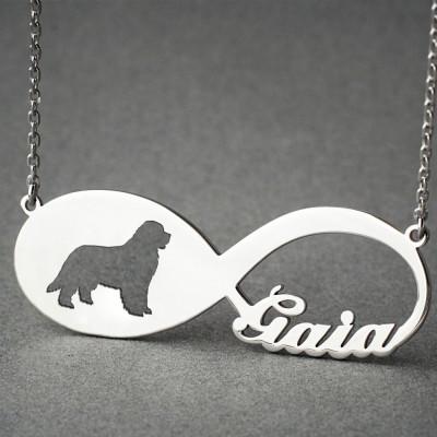 Personalised INFINITY NEWFOUNDLAND DOG Necklace - Newfoundland Dog necklace - Name Necklace - Memorial Necklace - Puppy - Dog Necklaces