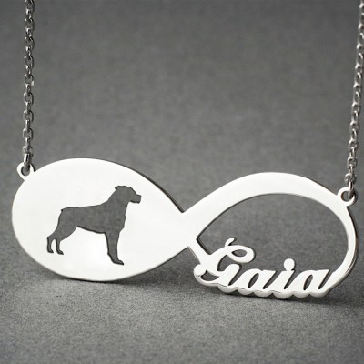 Personalised INFINITY ROTTWEILER Necklace - Rottweiler necklace - Name Necklace - Memorial Necklace - Dog Necklace