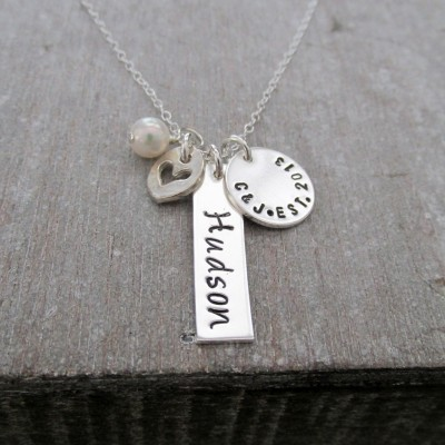 Personalized Bar Charm Necklace, Sterling Silver, Mother Jewelry, Hand Stamped, Personalized Jewelry, Baby Shower Gift