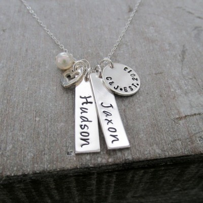 Personalized Bar Charm Necklace, Two Names, Sterling Silver, Mother Jewelry, Hand Stamped, Personalized Jewelry, Baby Shower Gift
