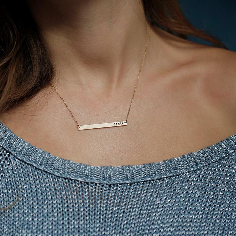 Custom Necklace Personalized Necklace Horizontal Bar Necklace