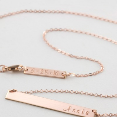 Personalized Bar Necklace, Rose Gold, Silver or Gold Plated / Bridesmaid Necklace Gift / Perfect Bar, LN140_35_H with ADD-ON Tag LA130_16_B