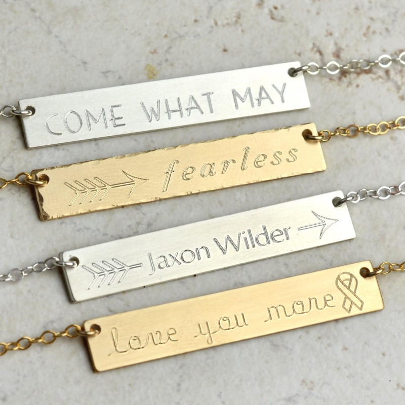 408ae4c65b449 Personalized Bar Necklace, gold bar necklace, arrow necklace, mother ...