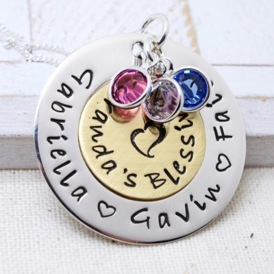 Personalized Christmas Gift, Grandmother Nana Necklace, Grandma's Blessings, Mom Silver Necklace, Birthstone Necklace, Grandma Jewelry,