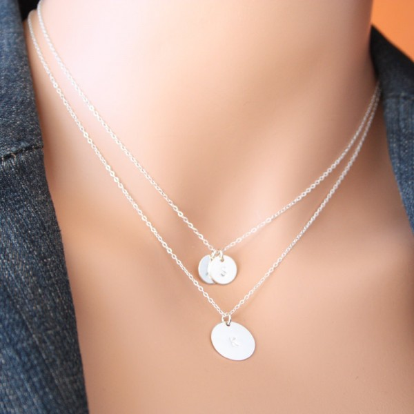 Sterling Silver Personalised Engraved Initial Disc Charm Necklace with gift box