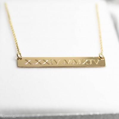 Personalized Engraved Bar Pendant Necklaces - 3 Sizes - 10k or 18k White Yellow Gold or Sterling Silver