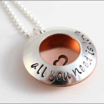 Personalized Family Necklace | All You Need Is Love, Locket Necklace, Beatles Jewelry, Custom Family Necklace, Necklace with Childrens Names